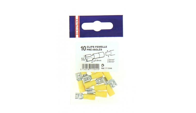 Lot de 10 Clips à Sertir Femelle Pré-isolés Jaune pour Fil de 2.5 à 6 mm² Ref 711044 - Debflex