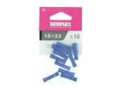 Lot de 10 Manchons à Sertir Isolés Bleu Pour Fil de 1.5 à 2.5 mm² Ref 711062 - Debflex