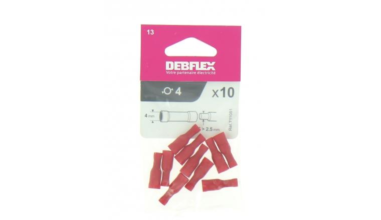 Lot de 10 Douilles à Sertir Femelle Pré-Isolées Rouge pour Fil de 0.5 à 1 mm² Ref 711081 - Debflex