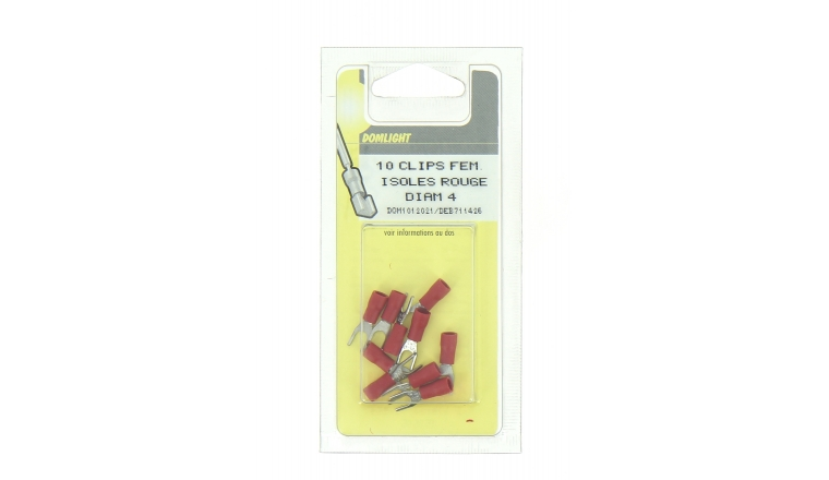 Lot de 10 Cosses à Sertir Fourche Ø 4 mm Pré-isolées Rouge Pour Fil de 0.5 à 1 mm²