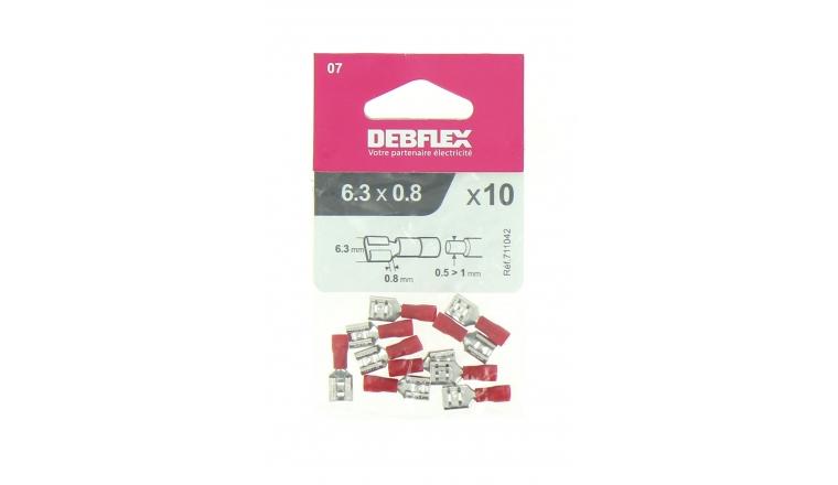 Lot de 10 Clips à Sertir Femelle Pré-isolés Rouge pour Fil de 0.5 à 1 mm² Ref 711042 - Debflex