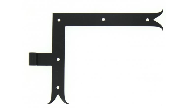 Penture Equerre à Queue de Carpe en Acier Noir Ø 14 mm - Gauche - 35x4 mm - H250 mm L300 mm - Ref 624596 - Industrielle de Sedan