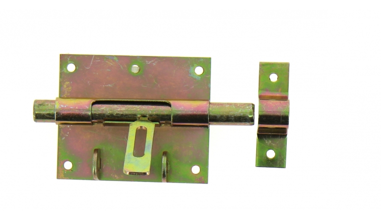 Verrou de Box Avec Porte-Cadenas en Acier Bichromaté Ø 14 mm - 90x75 mm - Ref 521311 - Industrielle de Sedan