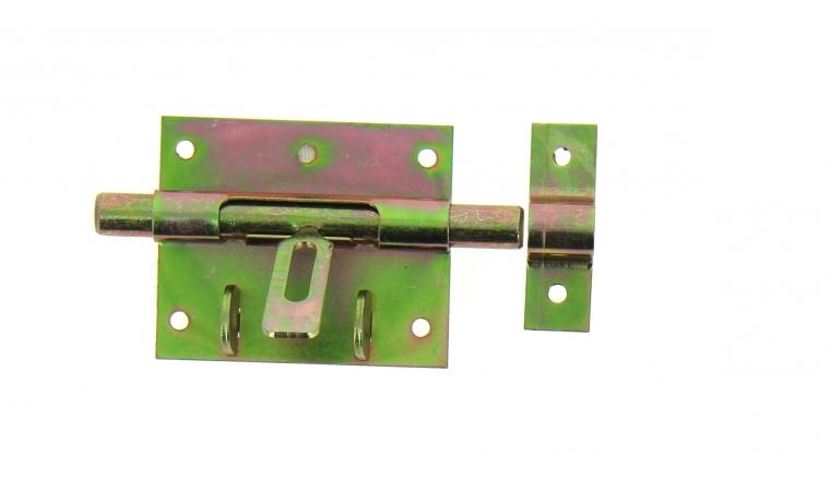Verrou de Box Avec Porte-Cadenas en Acier Bichromaté Ø 12 mm - 80x65 mm - Ref 521301 - Industrielle de Sedan