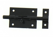 Verrou de Box Sans porte-Cadenas en Acier Noir Ø 10 mm - 70x55 mm - Ref 524201 - Industrielle de Sedan