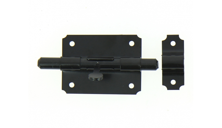 Verrou de Box Sans porte-Cadenas en Acier Noir Ø 12 mm - 80x60 mm - Ref 524211 - Industrielle de Sedan
