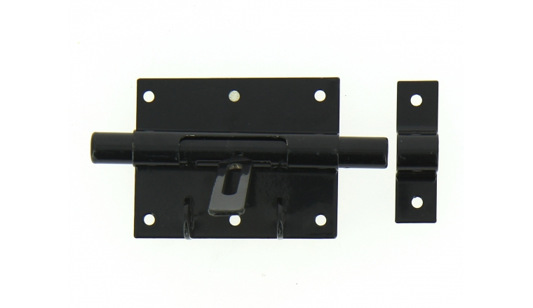 Verrou de Box Avec Porte-Cadenas en Acier Noir Ø 14 mm - 90x70 mm - Ref 524311 - Industrielle de Sedan
