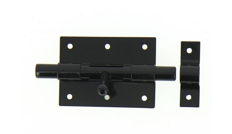 Verrou de Box Sans porte-Cadenas en Acier Noir Ø 14 mm - 90x65 mm - Ref 524221 - Industrielle de Sedan