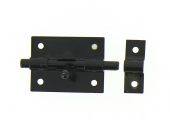 Verrou de Box  Sans Porte-Cadenas en Acier Noir Ø 8 mm - 60x45 mm - Ref 524200 - Industrielle de Sedan