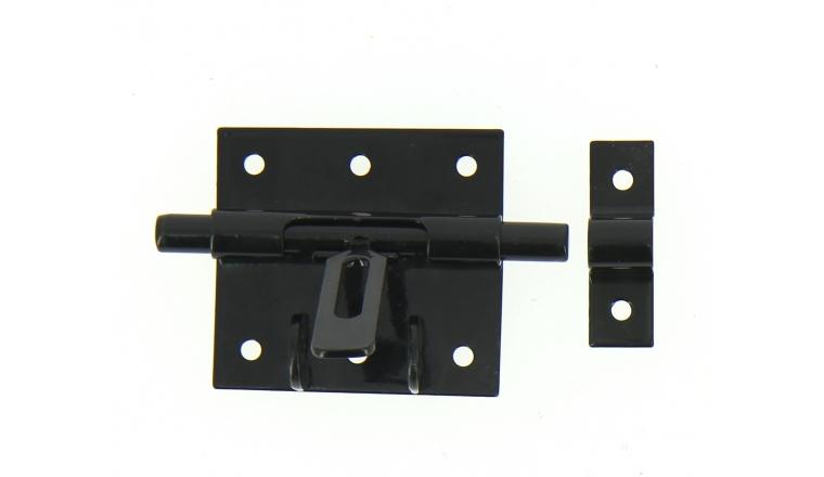 Verrou de Box Avec Porte-Cadenas en Acier Noir Ø 10 mm - 70x65 mm - Ref 524290 - Industrielle de Sedan