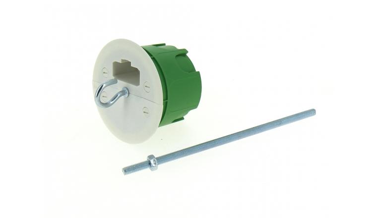 Boîte Luminaire pour Cloison Pleine Sans Douille - 62 x 50 mm - Tige Fileté - Ref 718940 - DEBFLEX