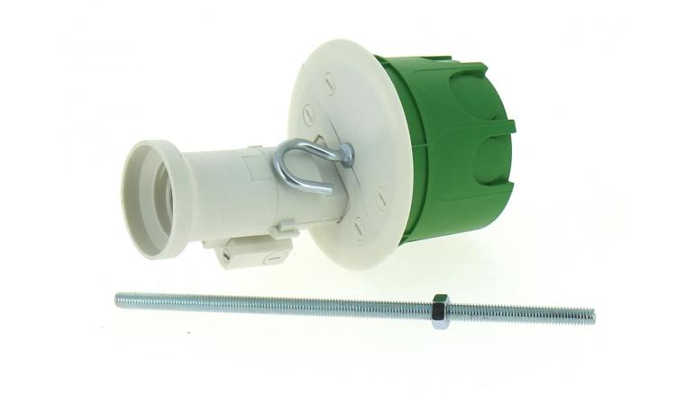 Boîte Luminaire pour Cloison Pleine avec Douille  - 62 x 50 mm - Douille E27 - Tige Fileté - Ref 718946 - DEBFLEX