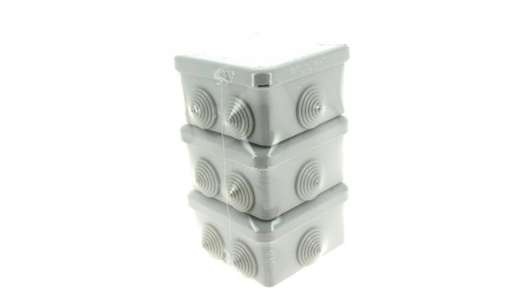 Lot de 3 Boîtes de Dérivation Etanche IP54 - 5 Entrées - 80 x 80 x 45 mm - Ref 718729 - DEBFLEX
