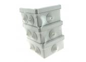Lot de 3 Boîtes de Dérivation Etanche IP54 - 5 Entrées - 105 x 105 x 55 mm - Ref 718739 - DEBFLEX