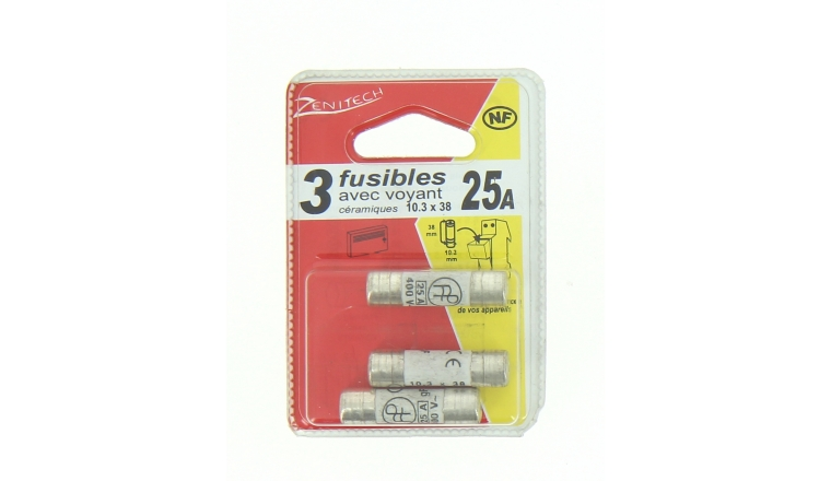 Lot de 3 Fusibles Céramique 25A - 400V - 10.5 x 38 mm