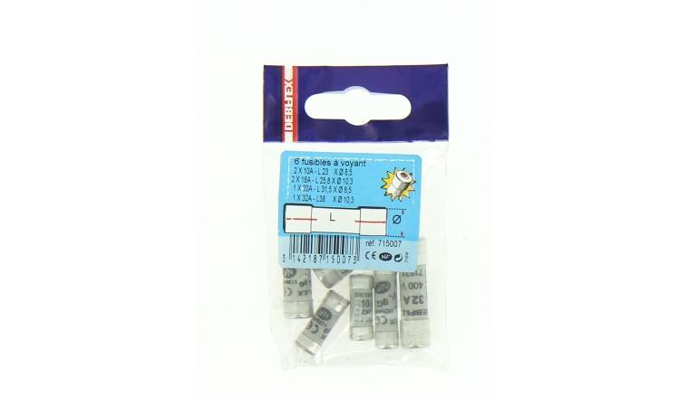 Assortiment de 6 Fusibles Céramique 10A/16A/20A/32A - 230V/400V - Ref 715007 - DEBFLEX