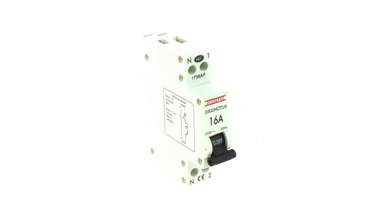 Disjoncteur à Phase Neutre 16A - 230V - 84 x 66 x 18 mm - Ref 707022 - DEBFLEX
