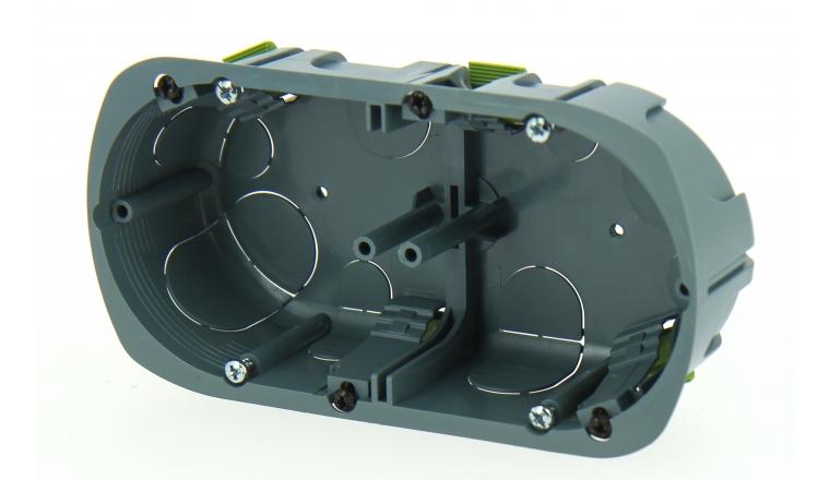 Boîte d\'encastrement Double Multimatériaux - 67 x 40 mm - Entraxe 71 mm - Ref 718751 - DEBFLEX