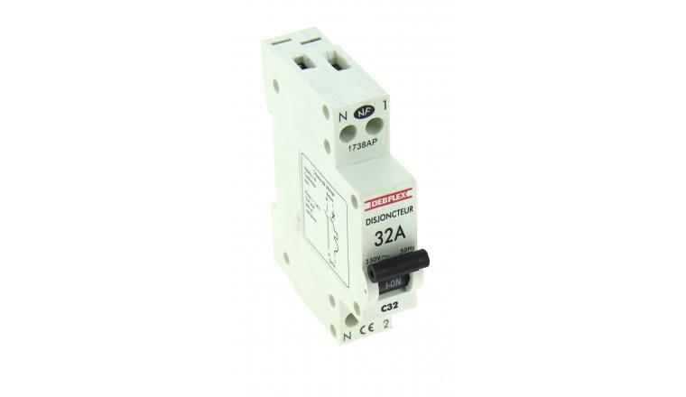 Disjoncteur à Phase Neutre 32A - 230V - 84 x 66 x 18 mm - Ref 707062 - DEBFLEX