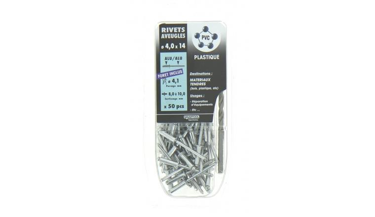 Lot de 50 Rivets Aveugles Aluminium pour Matériaux Tendres Ø 4.0 x 14 mm - Ref 160592 - Smartool