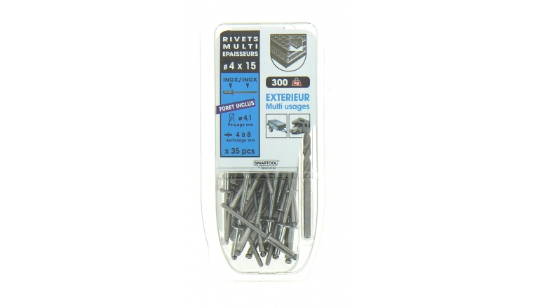 Lot de 35 Rivets Aveugles Inox Multi Epaisseurs Ø 4.0 x 15 mm - Ref 864012 - Smartool