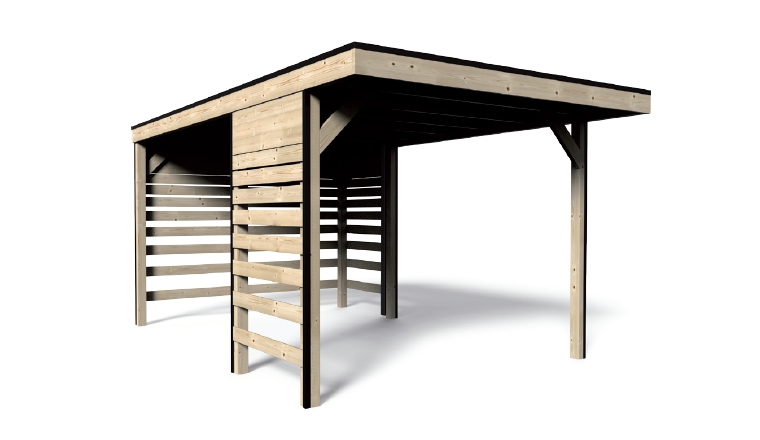 Carport en Bois 1 Véhicule Décor et Jardin 13.07 m² Ref 41751S900