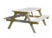 Table Forestière en Bois 2 Bancs Décor et Jardin Ref 11135-000