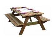 Table Forestière en Bois 2 Bancs Décor et Jardin Ref 10152-T00