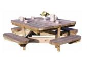 Table de Chasse en Bois 4 Bancs Décor et Jardin Ref 10180-T00