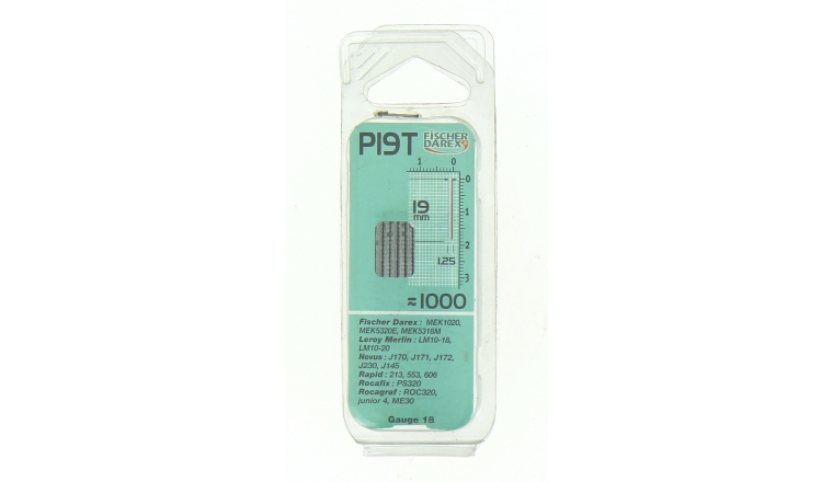 Boîte de 1000 Pointes P19T - 19 x 1.25 mm - En bande Pour Machine Pneumatique - Fischer Darex