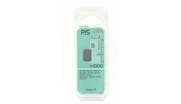 Boîte de 1000 Pointes P15 - 15 x 1.25 mm - En Bande pour Machine Pneumatique - Fischer Darex