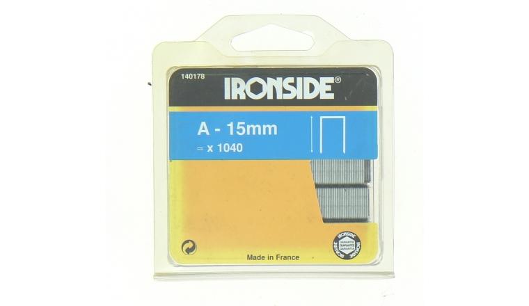 Boîte de 1000 Agrafes A15 - 15 x 10 mm - Ironside