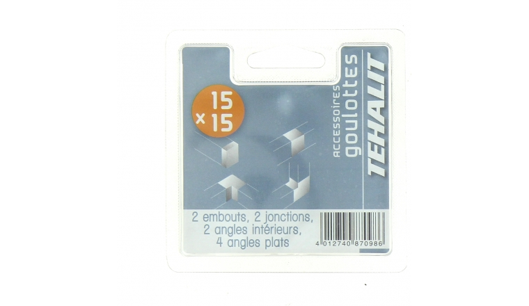 Assortiment de 10 embouts, jonction et angles - Goulotte PVC 15 x 15 mm - Ref GPV15015KIT - Tehalit