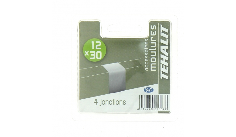Lot de 4 Jonctions - Moulure PVC 12 x 30 mm - Ref GPM12307B - Tehalit