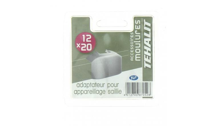 Adaptateur pour Appareillage en Saillie - Moulure PVC 12 x 20 mm - Ref GPM12249B - Tehalit