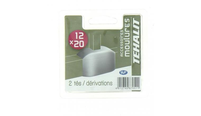 Lot de 2 dérivations - Moulure PVC 12 x 20 mm - Ref GPM12208B - Tehalit