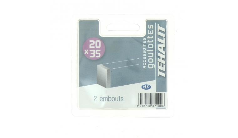 Lot de 2 Embouts de Finition - Goulotte PVC 20 x 35 mm - Ref GPV200356B - Tehalit