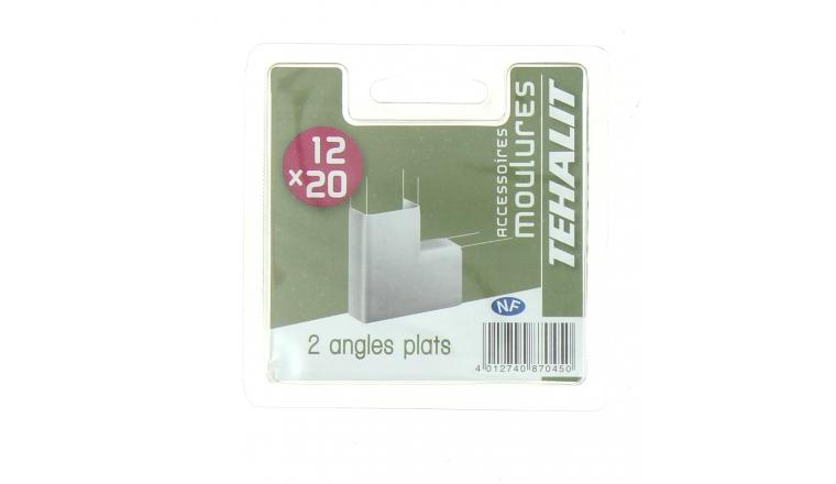 Lot de 2 Angles Plats - Moulures PVC 12 x 20 mm - Ref GPM12205B - Tehalit