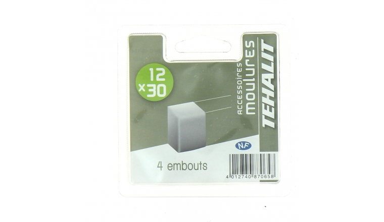 Lot de 4 Embouts de Finition - Moulure PVC 12 x 30 mm - Ref GPM12306B - Tehalit