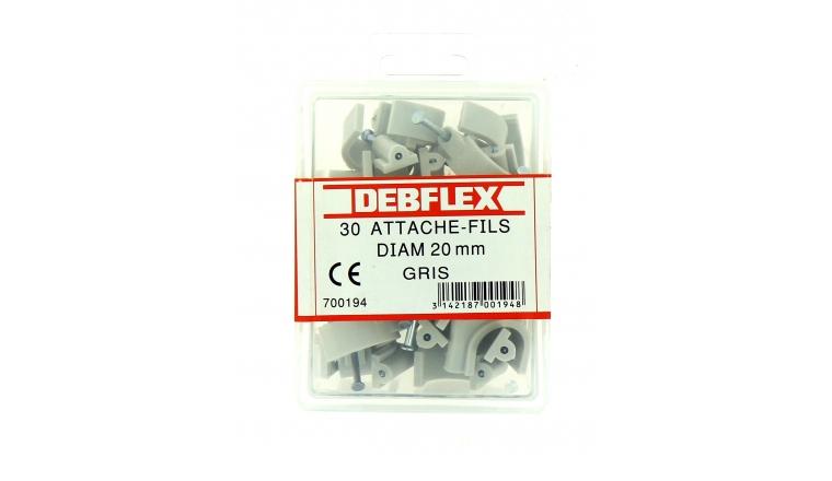 Boîte de 30 Attaches Fils - Ø  20 mm - Gris ou Blanc - Debflex