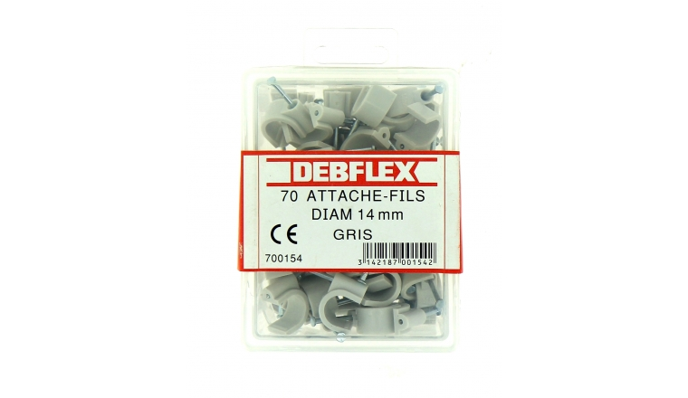 Boîte de 70 Attaches Fils - Ø  14 mm - Gris ou Blanc - Debflex