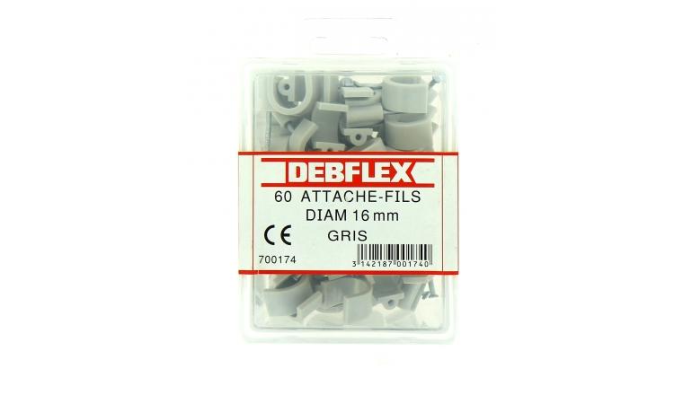 Boîte de 60 Attaches Fils - Ø  16 mm - Gris - Debflex