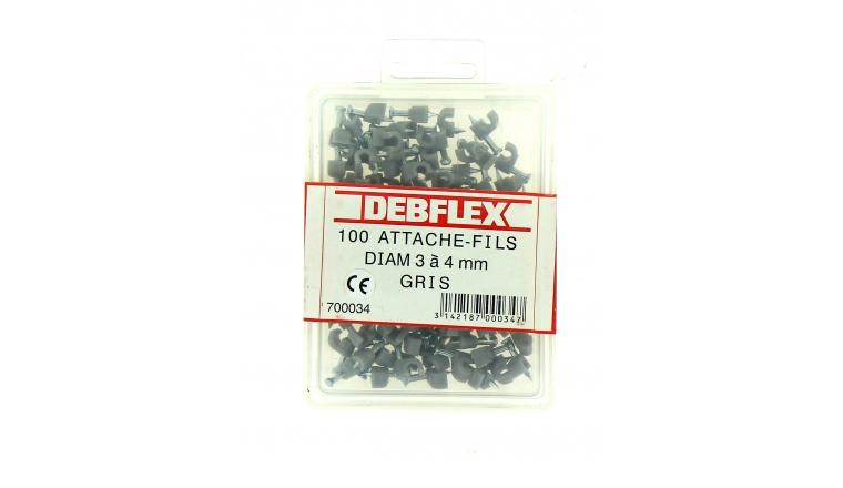 Boîte de 100 Attaches Fils - Ø 3 à 4 mm - Gris - Debflex