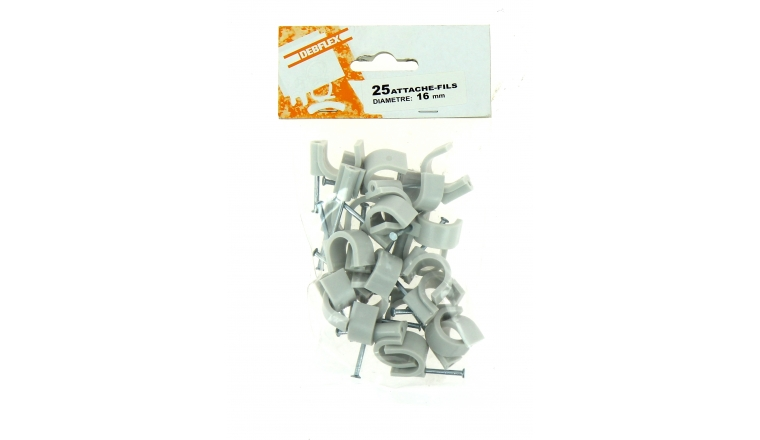 Sachet de 25 Attaches Fils - Ø 16 mm - Gris - Debflex
