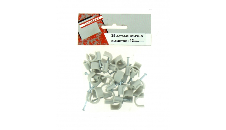 Sachet de 25 Attaches Fils - Ø 12 mm - Blanc ou Gris - Debflex