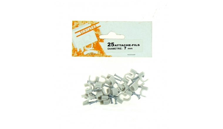 Sachet de 25 Attaches Fils - Ø 7 mm - Blanc ou Gris - Debflex
