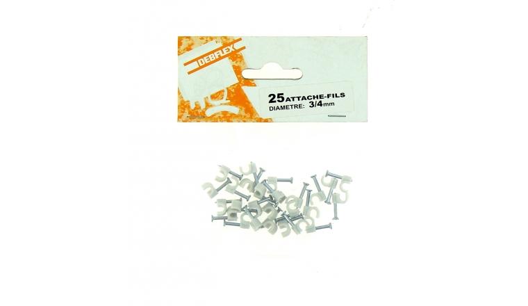 Sachet de 25 Attaches Fils - Ø 3 à 4 mm - Blanc ou Gris - Debflex