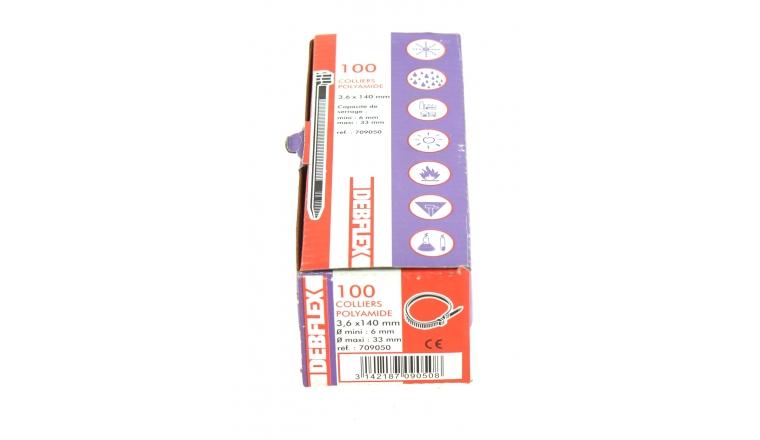 Boîte de 100 Colliers Rilsan Blanc - Largeur 3.6 mm - Longueur 140 mm - Ref 709050 - Debflex