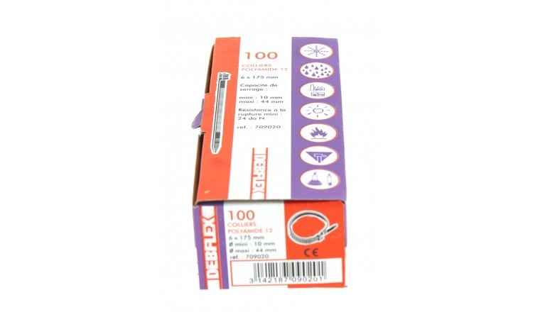 Boîte de 100 Colliers Rilsan Noir - Largeur 6 mm - Longueur 175 mm - Ref 709020 - Debflex