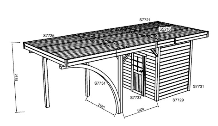 Carport en Bois Autoclave GERARDMER 1 véhicule Solid 4.30 m² S7753